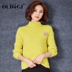 OUBO - 綴飾高領毛衣