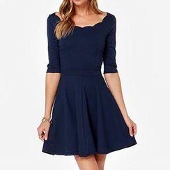 Jolly Club - Elbow-Sleeve Cutout-Back A-Line Dress