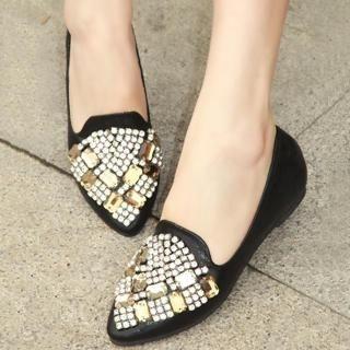 ZDJ Footwear - Jeweled Pointy Loafers