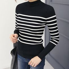DANI LOVE - Mock-Neck Stripe Rib-Knit Top