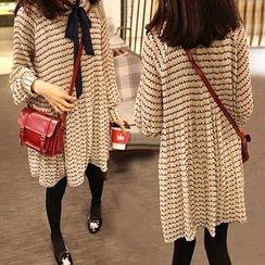NEUF - Long-Sleeve Patterned A-Line Dress