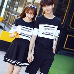 Azure - Couple Matching Lettering Short-Sleeve T-Shirt
