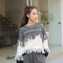 Cherryville - Fringed-Trim Color-Block Sweater