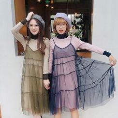 MISS RICE - Set: Long-Sleeve Knit Dress + Sheer Strappy Dress