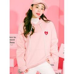 icecream12 - Heart Embroidered Hood Pullover