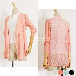 Ho Shop - Open-Front Dotted Chiffon-Back Cardigan