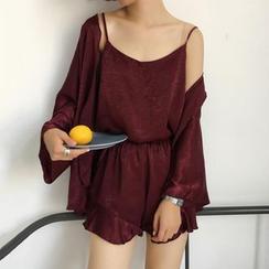 Moon City - Pajama Set: Plain Camisole Top + Shorts + Robes