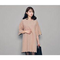 HOTPING - Scallop-Trim A-Line Dress