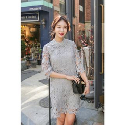PPGIRL - 3/4 Sleeve Lace Shift Dress