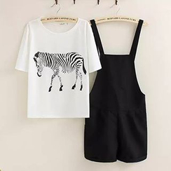 Miss Honey - Set: Zebra Print Crewneck T-Shirt + Jumper Pants / Jumper Shorts