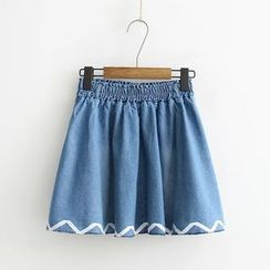 Aigan - Ribbon-Hem Denim A-Line Skirt