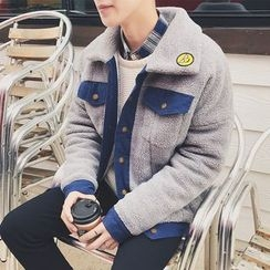 JORZ - Embroidered Denim Panel Fleece Jacket