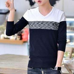 DTT - Colour Block V-neck Long-Sleeve T-shirt
