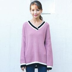 LRUD - V-Neck Ribbed Long Sweater
