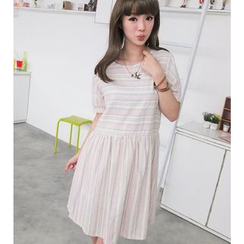 59 Seconds - Striped Short Sleeve Dress