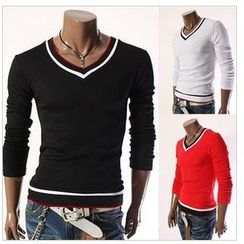 Hansel - V-neck Long-Sleeve T-shirt