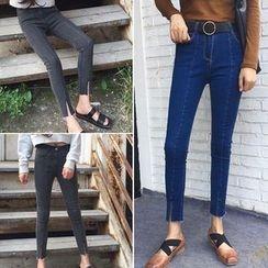 Lokin - Front Slit Skinny Jeans