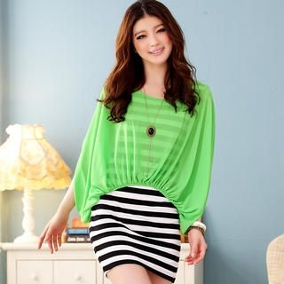 JK2 - Inset Chiffon Top Striped Dress