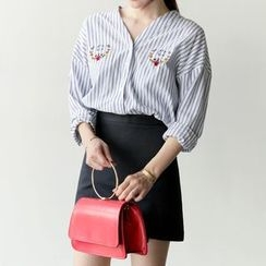 Arroba - Embroidered Striped V-Neck Shirt