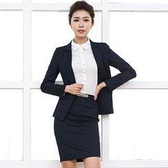 Aision - Stripe Blazer / Shirt / Pencil Skirt