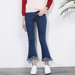 Sens Collection - Frayed Boot Cut Jeans