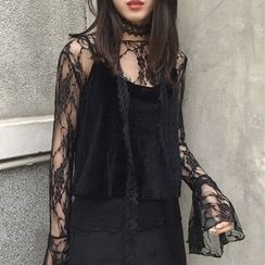 Lyrae - Set: Lace Bell-Sleeve Top + Camisole Top