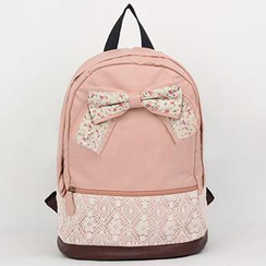 Meringue - Bow-Accent Lace Panel Backpack