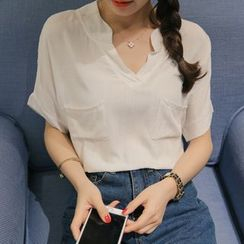 Q.C.T - Short-Sleeve Open Placket Blouse