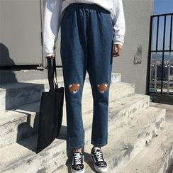Dute - Bear Embroidered Harem Jeans