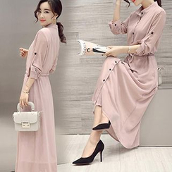chome - Chiffon Stand Collar Maxi Shirtdress