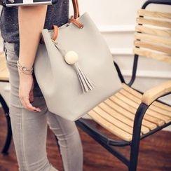 Seok - Tasseled Faux Leather Bucket Bag