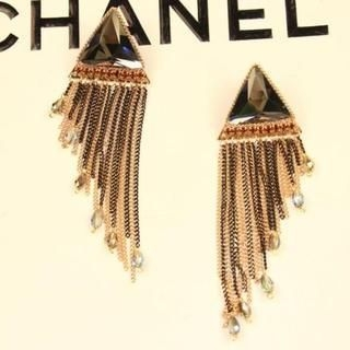 Supermary - Fringed Jeweled Drop Earrings