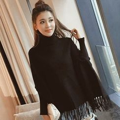 Cherry Dress - Fringe Hem Turtleneck Cape Sweater