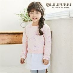 LILIPURRI - Girls Floral Pattern Mini Pullover Dress