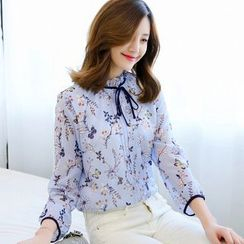 Rosehedge - Floral Print Long Sleeve Chiffon Blouse