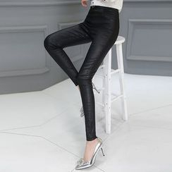 Ekim - Plain High Waist Skinny Pants
