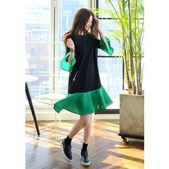 DEEPNY - Color-Block Ruffled Chiffon Dress