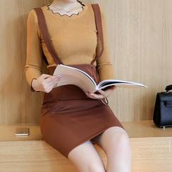 LunarS - Set: Scallop Neck Knit Top + Suspender Skirt
