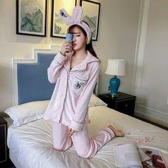 RUI - Pajama Set: Ear Hair Band + Fleece Top + Pants