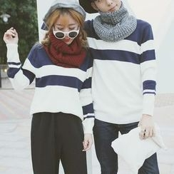 Bloombloom - Couple Matching Color Block Sweater