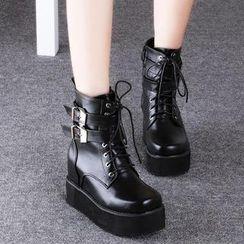 Mancienne - Platform Buckled Short Boots