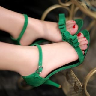 77Queen - Bow-Accent Heel Sandals