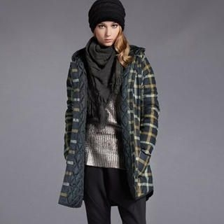 Moonbasa - Check Hooded Buttoned Coat