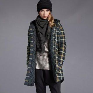 Moonbasa - Check Hooded Buttoned Coat