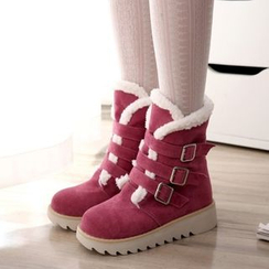 Shoes Galore - Buckled Fleece-lined Short Boots