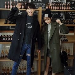 Je T'aime - Couple Matching Notch Lapel Double Breasted Long Coat