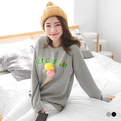 OrangeBear - Ice Cream Graphic Fleece Lined Sweatshirt
