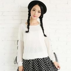 Porta - Lace-Up Long-Sleeve Top