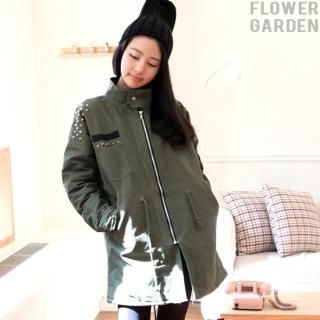 byseeu - Appliqué-Accent Studded-Sleeve Parka