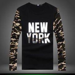 Alvicio - Lettering Camouflage Print T-Shirt